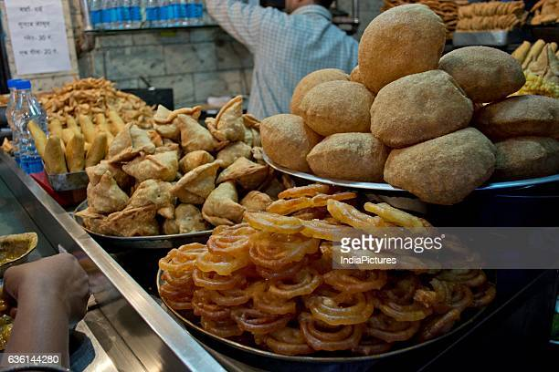 Variety Of Food Displayed At Street Market