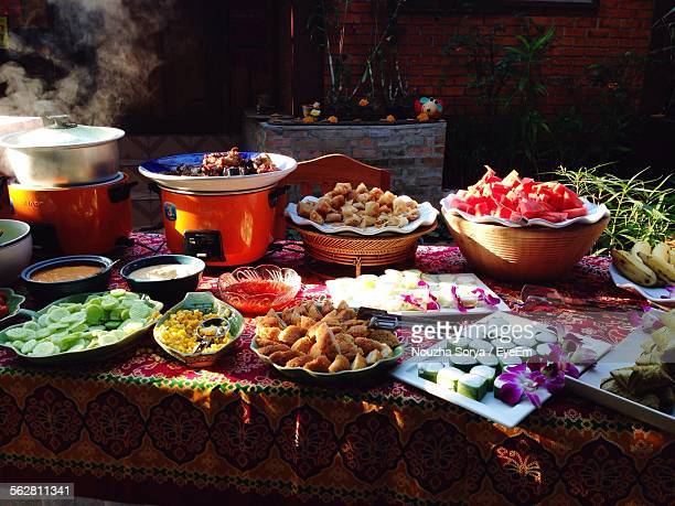 Variety Of Foods Served On Table In Restaurant