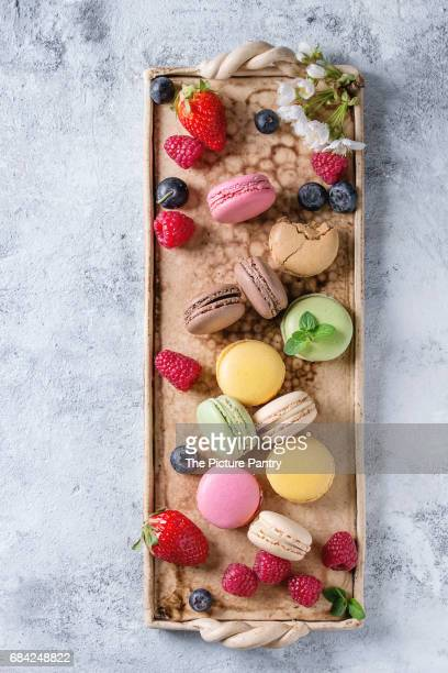 Variety of french dessert macarons