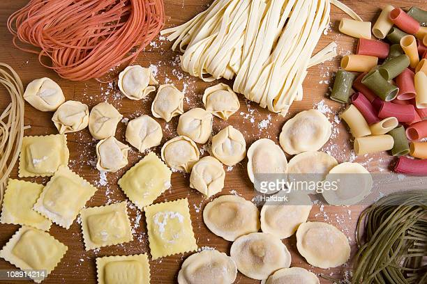 Variety of fresh pasta