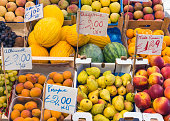 Variety of fruits seen at a market in Palermo, Sicily