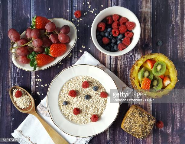 Variety of fruits with breakfast