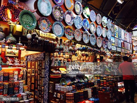 Variety Of Goods In Souvenir Shop
