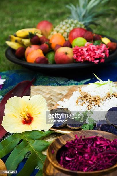 Variety of Hawaiian food and fruit
