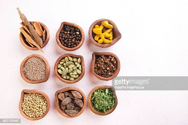 Variety of Indian spices in oil lamps on white background
