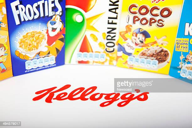 A variety of Kellogg's boxed cereal products