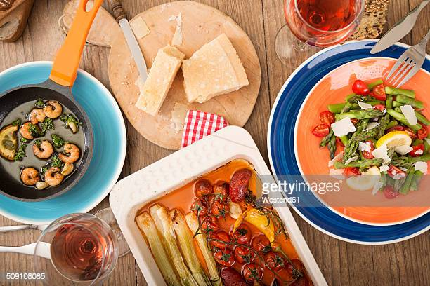 Variety of Mediterranean low carb dishes