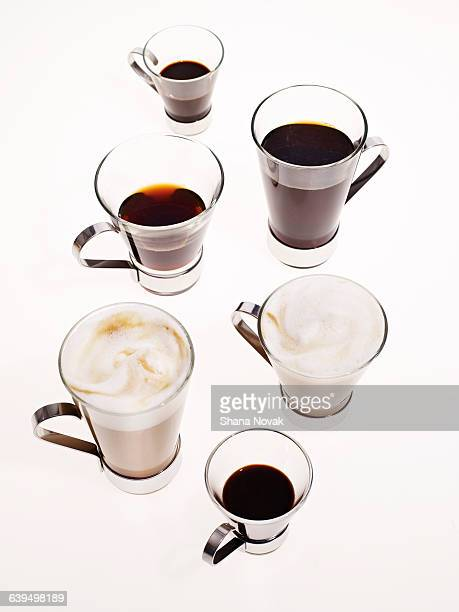 Variety of Mugs With Coffee and Espresso