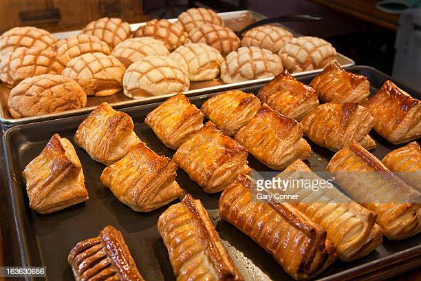 Variety of pastries at bakery
