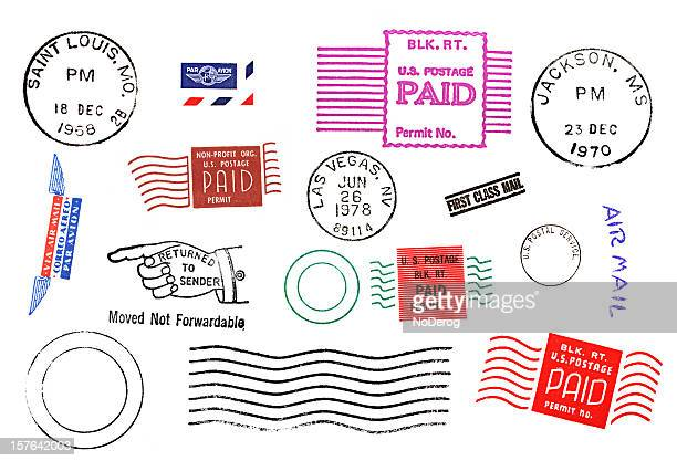 Variety of Postal mail marks and stamps