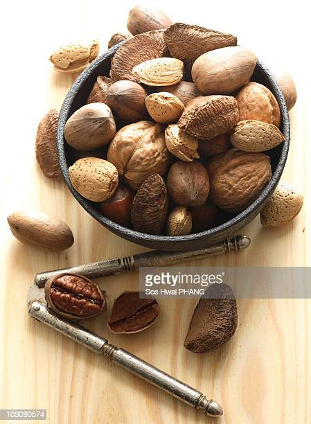 A variety of raw unshelled nuts