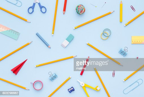 Variety of school supplies. Back to school concept. : Stock-Foto