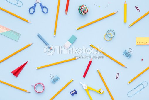 Variety of school supplies. Back to school concept. : Stock Photo