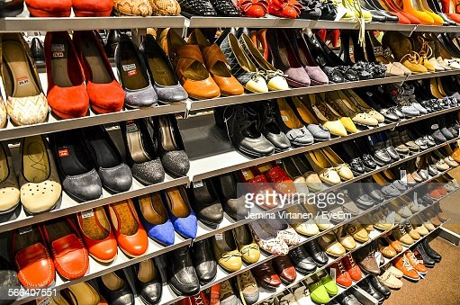 ski shop display variety of shoes for display in shop on shelf stock photo getty
