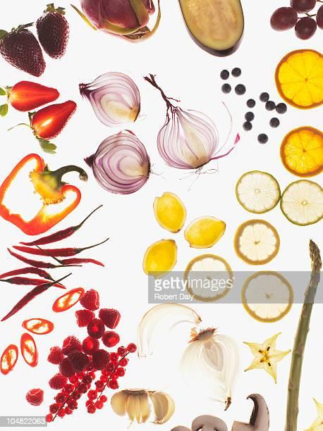 さまざまなスライスの野菜