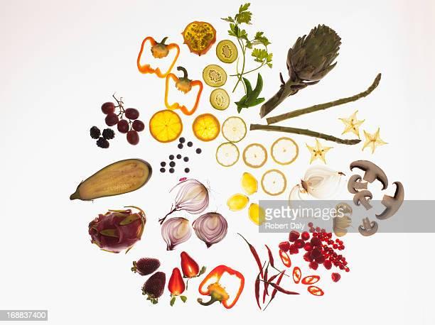 Variety of sliced vegetables