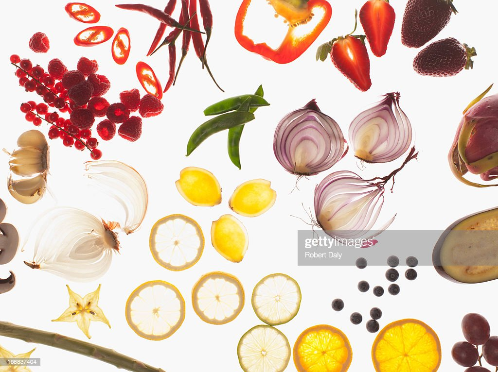 Variety of sliced vegetables : Stock Photo