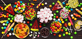 Candies assortment, sweet treats, panoramic shot