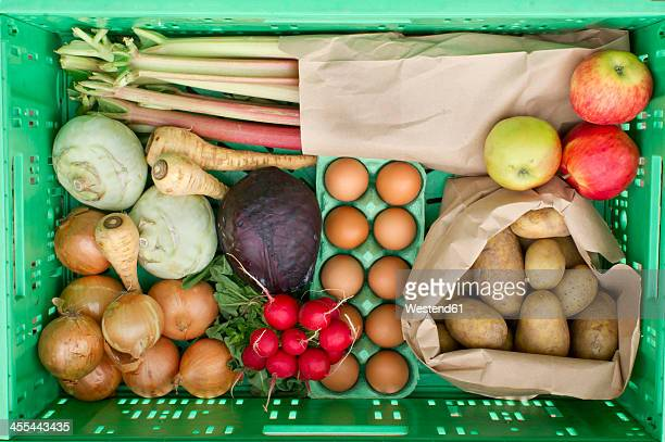 Variety of vegetables in crate, close up