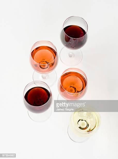 Variety of wines in stemware