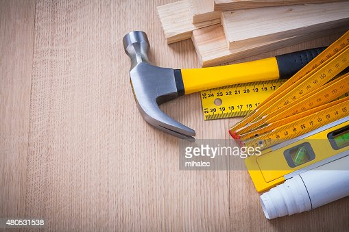Variety of working building tools on wood board horizontal versi : Stockfoto