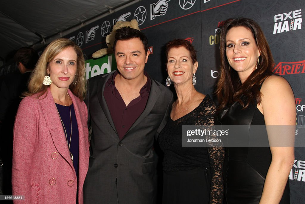 Variety Publisher Michelle Sobrino-Stearns, honoree Seth MacFarlane, Noreen Fraser and President of the Noreen Fraser Foundation Michelle McBride arrive at Variety's 3rd annual Power of Comedy event presented by Bing benefiting the Noreen Fraser Foundation held at Avalon on November 17, 2012 in Hollywood, California.