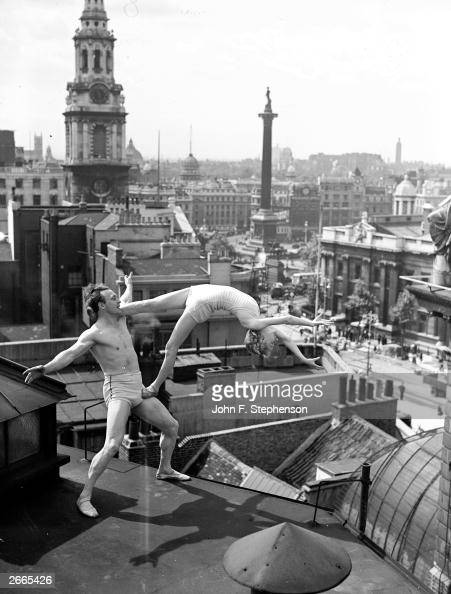 Variety returns to the London Coliseum in the form of acrobatic dancers Balliol and Marton Here they rehearse one of their stunts on the roof of the...