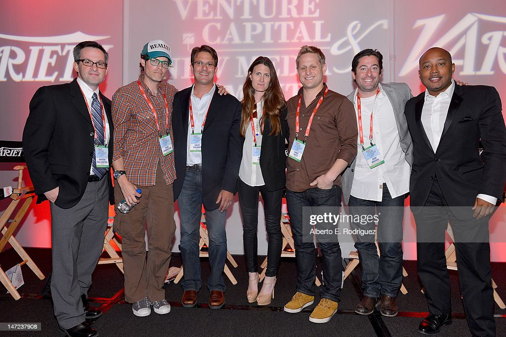 Variety TV editor and moderator Andrew Wallenstein, StageIt.com founder & CEO Evan Lowenstein, Yowza CEO David Teichner, Beachmint VP of creative and celebrity partnerships Ara Katz, Viddy SVP of business development Chris Ovitz, Postcard on the Run CEO & Founder Josh Brooks, and FUBU co-founder and TV personality Daymond John speak during Variety's Venture Capital & New Media Summit in association with International ESQ at Sofitel Hotel on June 27, 2012 in Los Angeles, California.