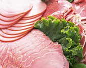 Variety types of processed food(ham) on plate, Full Frame, high angle view, close up