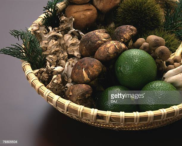 Variety types of Vegetables on bamboo basket, high angle view