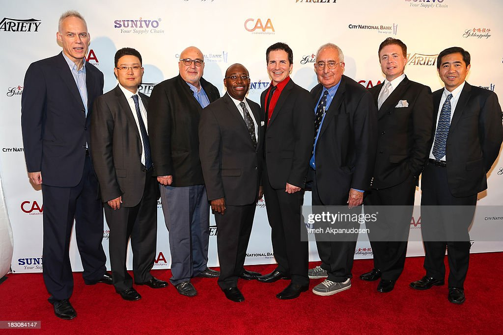 Variety's Asia Bureau Chief Patrick Frater, Sunivo President Tony Sit, E Entertainment Founder & Metan Development CEO Larry Namer, Fox Rothschild's Darrell Miller, actor <a gi-track='captionPersonalityLinkClicked' href=/galleries/search?phrase=Hal+Sparks&family=editorial&specificpeople=213158 ng-click='$event.stopPropagation()'>Hal Sparks</a>, television personality <a gi-track='captionPersonalityLinkClicked' href=/galleries/search?phrase=Ben+Stein&family=editorial&specificpeople=551931 ng-click='$event.stopPropagation()'>Ben Stein</a>, KNX Business Hour host Frank Mottek, and Dr. Baizhu Chen attend Sunivo's 1st Annual CHINA NOW Summit at the Hyatt Regency Century Plaza on October 3, 2013 in Century City, California.