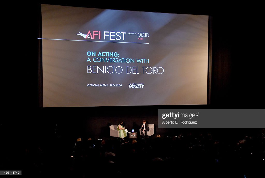 Variety's Jenelle Riley (L) and actor Benicio del Toro speak onstage at 'A Conversation with Benicio Del Toro' during AFI FEST 2015 presented by Audi at the Egyptian Theatre on November 7, 2015 in Hollywood, California.