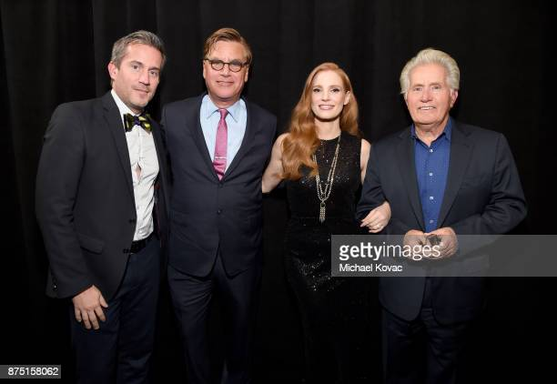Variety's Peter Debruge Aaron Sorkin Jessica Chastain and Martin Sheen attend the screening of 'Molly's Game' at the Closing Night Gala at AFI FEST...