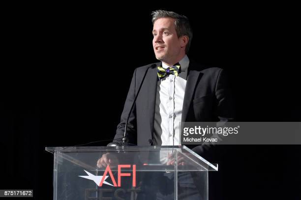 Variety's Peter Debruge speaks onstage at the screening of 'Molly's Game' at the Closing Night Gala at AFI FEST 2017 Presented By Audi at TCL Chinese...