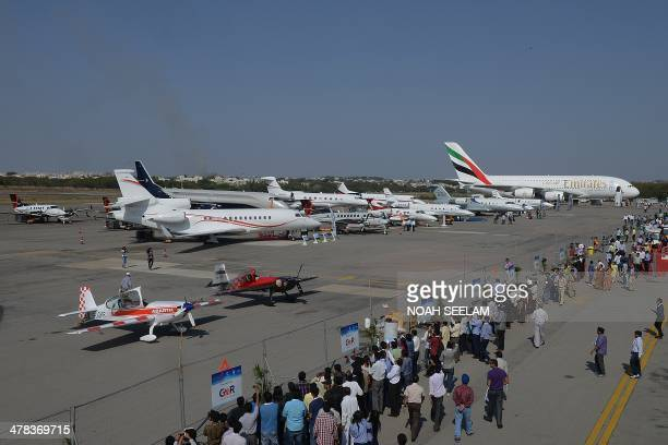 Various aircraft are seen on static display at the India Aviation 2014 airshow at Begumpet airport in Hyderabad on March 13 2014 India's fastgrowing...