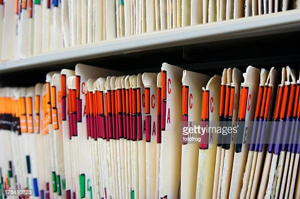 Various alphabetized medical records