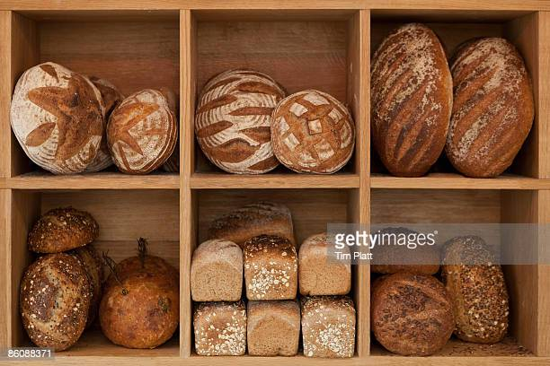 Various artisan loaves of bread.