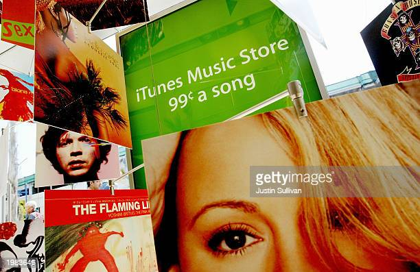 Various Artists album covers are seen in a display for Apple's new iTunes Music Store May 8 2003 in Emeryville California Since the launch of Apple's...