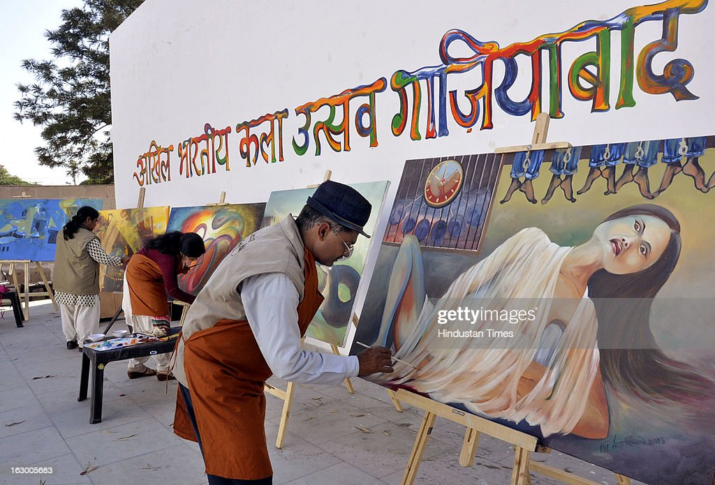 Various artists from 11 different states are involved in sculptors and paintings at 'Ghaziabad art festival 2013' held at Kala Dham on March 3, 2013 in Ghaziabad, India. One of the paintings portrays the horrific incident of Delhi gang rape.