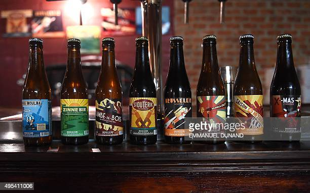 Various beers produced by Belgian microbrewery 'Brasserie de la Senne' are on display at the brewery in Brussels on October 23 2015 To understand why...