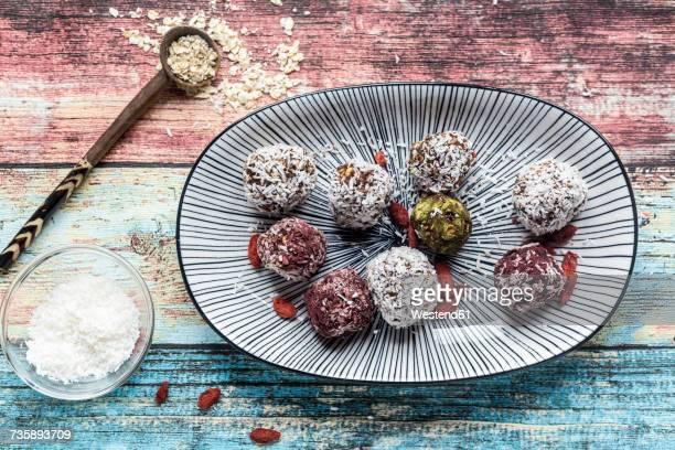 Various Bliss Balls on platter