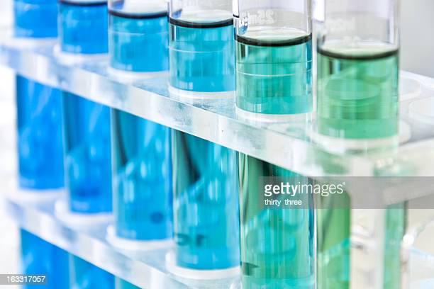 Various blue liquids in test tubes
