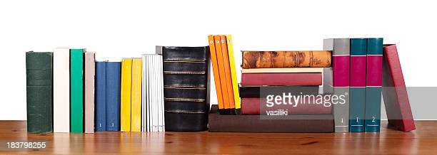 Various books in a row