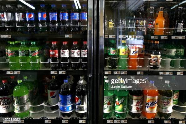 Various bottles of soda are displayed in a cooler at Marina Supermarket on July 22 2014 in San Francisco California The San Francisco Board of...