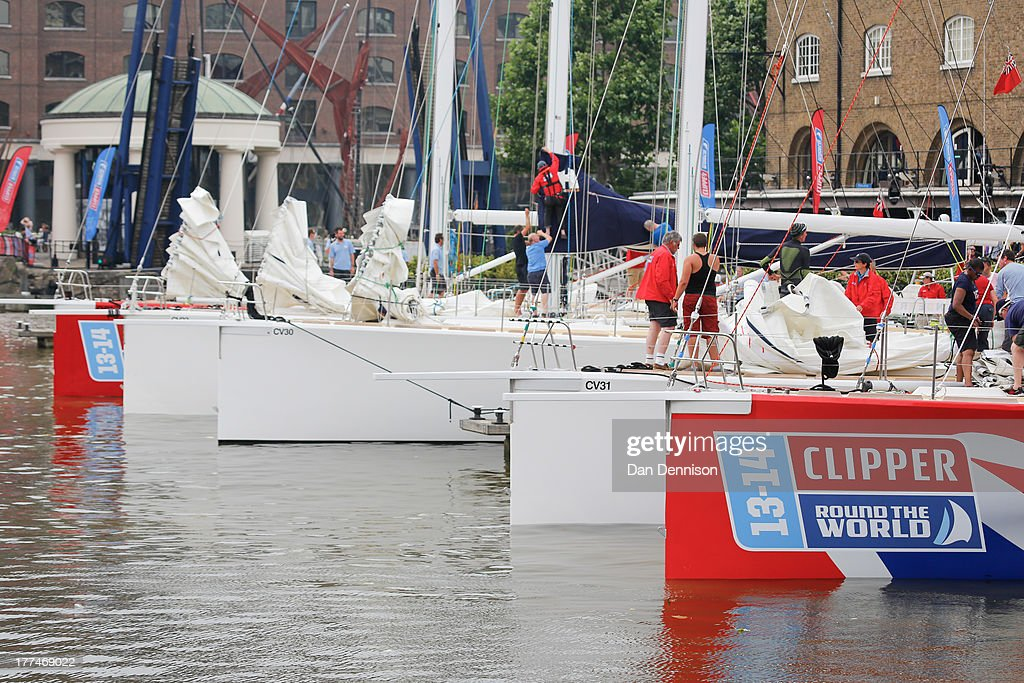 Various bows of Clipper ships in St Katherine's Dock, east London on August 23, 2013. The Clipper 2013-14 Round The World Yacht Race is a 40,000 mile, 8-leg course which begins on September 1 and will visit six continents, taking eleven months to complete.