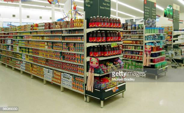 Various canned food and produce on the shelves at a local supermarket