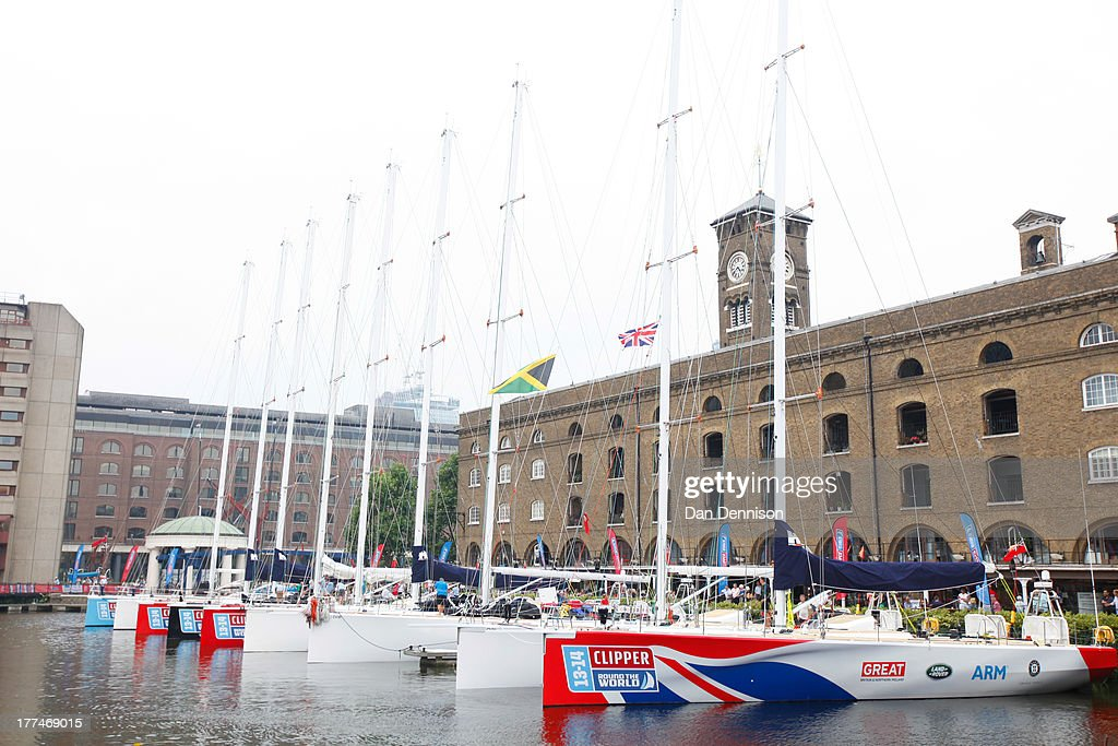 Various Clipper ships in St Katherine's Dock, east London on August 23, 2013. The Clipper 2013-14 Round The World Yacht Race is a 40,000 mile, 8-leg course which begins on September 1 and will visit six continents, taking eleven months to complete.