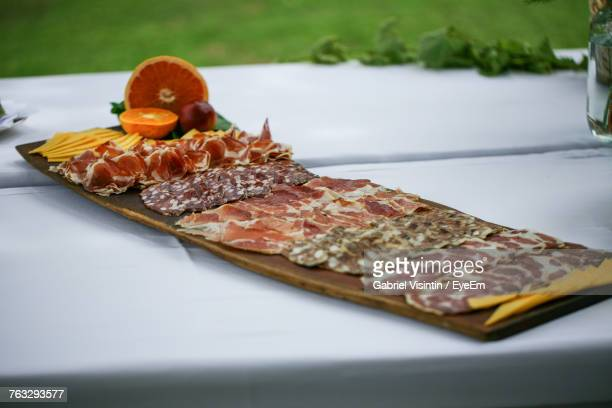 Various Cold Cuts Served In Plate On Table