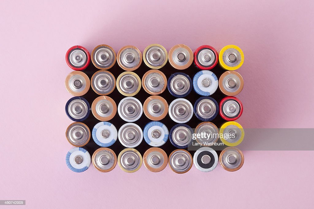 Various colored batteries arranged into a rectangle