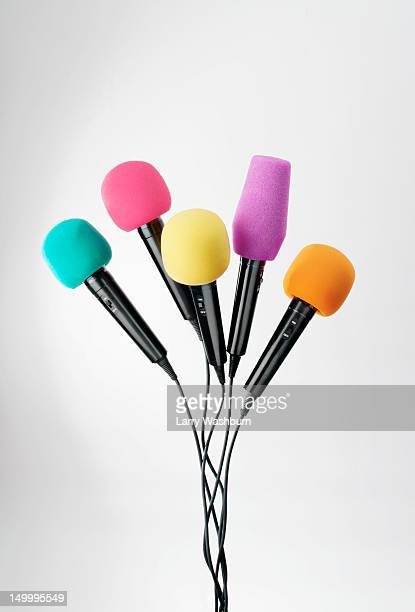 Various colored microphones